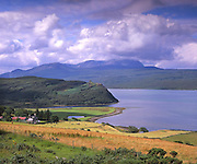 Distant Varrich Castle and Ben Hope, Sutherland.