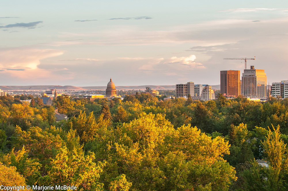 Sunset during autumn over down town Boise, Idaho.
