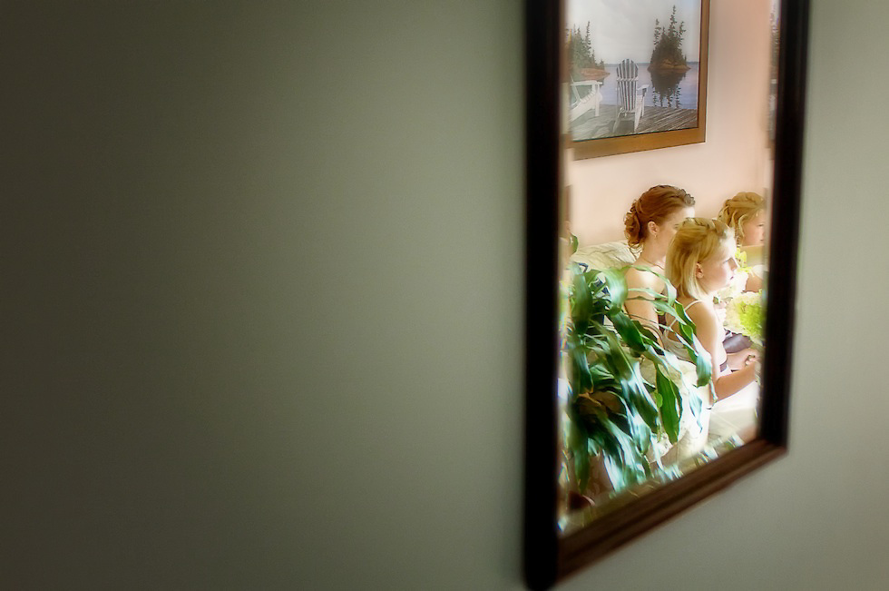 A captured moment reflected in the hallway mirror.