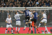 Inter Milan defender Milan Skriniar (37) Inter Milan defender Stefan de Vrij (6) attacking a high ball in the Tottenham six yard box during the Champions League group stage match between Tottenham Hotspur and Inter Milan at Wembley Stadium, London, England on 28 November 2018.
