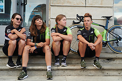 Cylance Pro Cycling wait to be called to the stage at Giro Rosa 2018 - Team Presentation in Verbania, Italy on July 5, 2018. Photo by Sean Robinson/velofocus.com