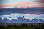 Pre-dawn light hits the St. Elias mountains near the Alaska border in the Yukon.