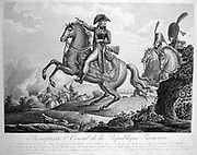 Napoleon Bonparte (1769-1821)  as First Consul. Engraving.