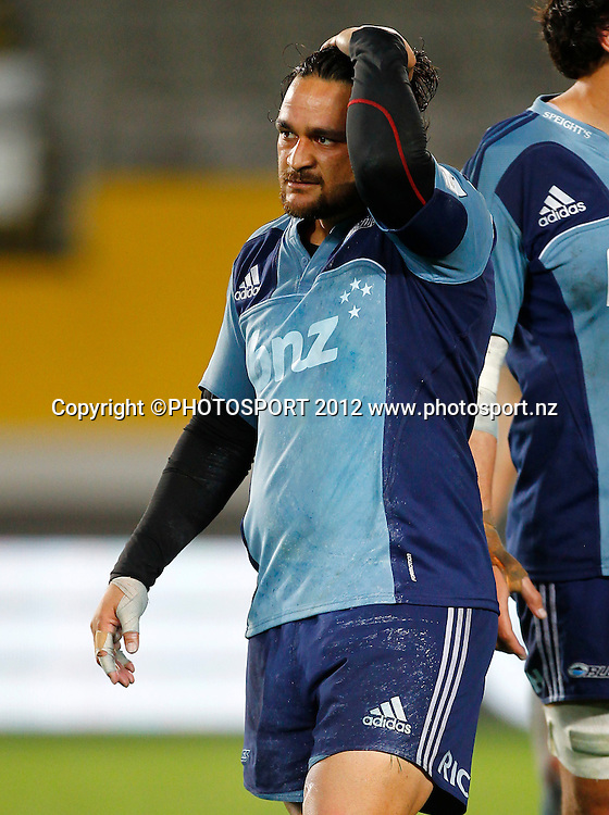 Dejected Blues player Piri Weepu during the Super Rugby game between The Blues and The Reds at Eden Park, Auckland, New Zealand, Friday 27 April 2012. Photo: Simon Watts / photosport.co.nz
