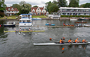 Henley on Thames, England, United Kingdom, Saturday, 06.07.19, Sydney Rowing Club, Australia, AUS, (top), crossing the line ahead of Lea Rowing Club (bottom), in the Semi-Final of the Wyfold Challenge CupHenley Royal Regatta,  Henley Reach, [©Karon PHILLIPS/Intersport Images]<br /> <br /> 10:57:07 1919 - 2019, Royal Henley Peace Regatta Centenary,