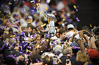 3 February 2013: The Baltimore Ravens celebrate and hold up the Vince Lombardi trophy after defeating the San Francisco 49ers in Superbowl XLVII at the Mercedes-Benz Superdome in New Orleans, LA.
