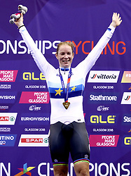 Netherland's Kirsten Wild celebrates winning Gold in the Omnium IV Women 20KM Points Race during day five of the 2018 European Championships at the Sir Chris Hoy Velodrome, Glasgow.