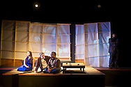 "Middletown, New York - Students from The Apprentice Players of the SUNY Orange Arts & Communications Department in a dress rehearsal of ""after the quake"" at Orange Hall Theatre on Nov. 13, 2014."