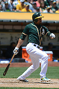 May 29, 2014; Oakland, CA, USA; Oakland Athletics center fielder Coco Crisp (4) bats during the second inning against the Detroit Tigers at O.co Coliseum. The Tigers defeated the Athletics 5-4.