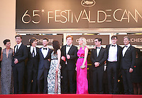 Garret Hedlund,Director Walter Salles, Tom Sturridge, Kristen Stewart, Danny Morgan, Kirsten Dunst, and cast at the On The Road gala screening red carpet at the 65th Cannes Film Festival France. The film is based on the book of the same name by beat writer Jack Kerouak and directed by Walter Salles. Wednesday 23rd May 2012 in Cannes Film Festival, France.