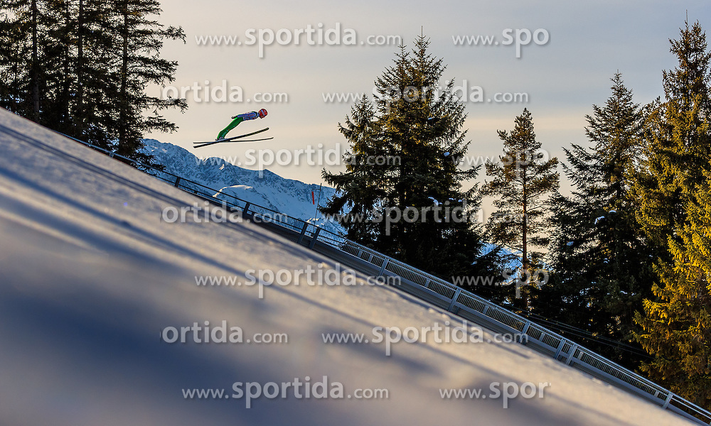 28.01.2017, Casino Arena, Seefeld, AUT, FIS Weltcup Nordische Kombination, Seefeld Triple, Skisprung, im Bild Fabian Riessle (GER) // Fabian Riessle of Germany in action during his Trail Jump of Skijumping of the FIS Nordic Combined World Cup Seefeld Triple at the Casino Arena in Seefeld, Austria on 2017/01/28. EXPA Pictures © 2017, PhotoCredit: EXPA/ JFK