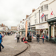 Market Place, a central square in the historic city of Wells, Somerset.