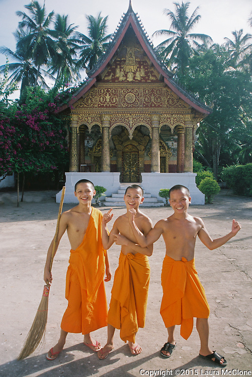 Novice monks at a temple in Luang Prabang, Laos