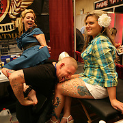 Body piercer Jenn Carriere and Kim Medina tattoo artists at the 18th Annual South Florida Tattoo Expo<br />