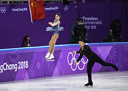 PYEONGCHANG, Feb. 15, 2018  Yu Xiaoyu (L) and Zhang Hao of China compete during the pair skating free skating of figure skating at the 2018 PyeongChang Winter Olympic Games, in Gangneung Ice Arena, South Korea, on Feb. 15, 2018. Yu Xiaoyu and Zhang Hao got the 8th place in the pair skating event with 204.10 points in total. (Credit Image: © Ju Huanzong/Xinhua via ZUMA Wire)