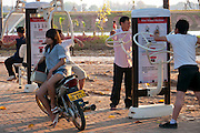 Vientiane, Laos. Park with exercise equipment on the banks of the Mekong River on Fa Ngum Road.