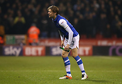 Glenn Loovens of Sheffield Wednesday picks up a bottle thrown at him by a Sheffield United fan - Mandatory by-line: Robbie Stephenson/JMP - 12/01/2018 - FOOTBALL - Bramall Lane - Sheffield, England - Sheffield United v Sheffield Wednesday - Sky Bet Championship