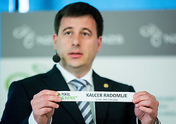 Ales Zavrl of NZS with paper NK Kalcer Radomlje during NZS Draw for season 2015/16 on June 23, 2015 in Brdo pri Kranju, Slovenia. Photo by Vid Ponikvar / Sportida