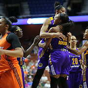 UNCASVILLE, CONNECTICUT- MAY 26:  Candace Parker #3 of the Los Angeles Sparks congratulates team mate Nneka Ogwumike #30 of the Los Angeles Sparks after scoring two points and being fouled during the Los Angeles Sparks Vs Connecticut Sun, WNBA regular season game at Mohegan Sun Arena on May 26, 2016 in Uncasville, Connecticut. (Photo by Tim Clayton/Corbis via Getty Images)