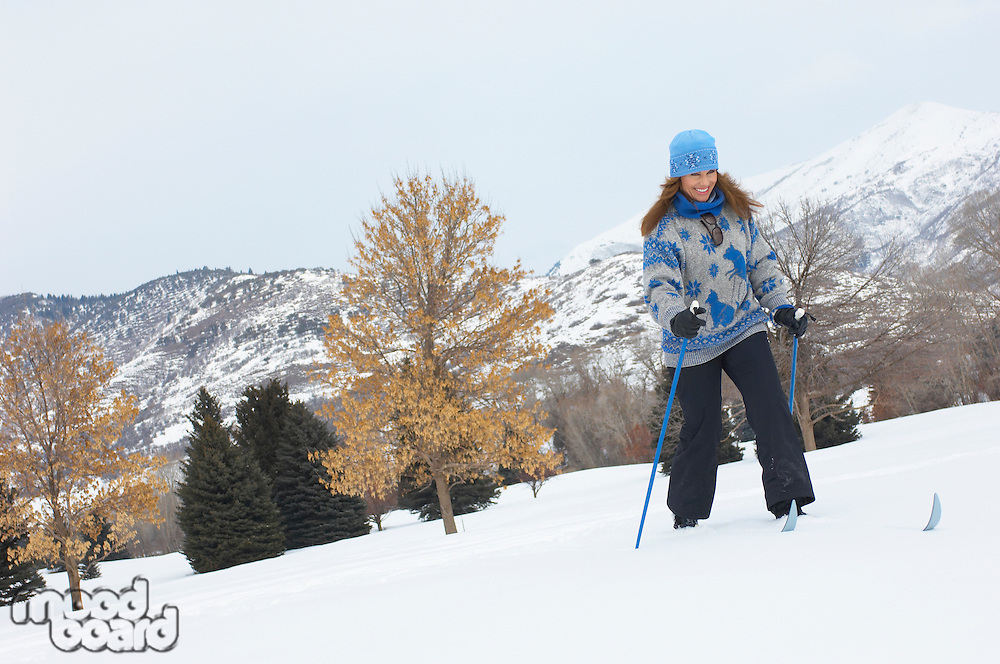 Woman Enjoying a Day Cross-country Skiing