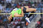 Majd Eddin Ghazal (SYR) places second in the high jump at 7-7 3/4 (2.33m) in the 2018 IAAF Doha Diamond League meeting at Suhaim Bin Hamad Stadium in Doha, Qatar, Friday, May 4, 2018. (Jiro Mochizuki/Image of Sport)