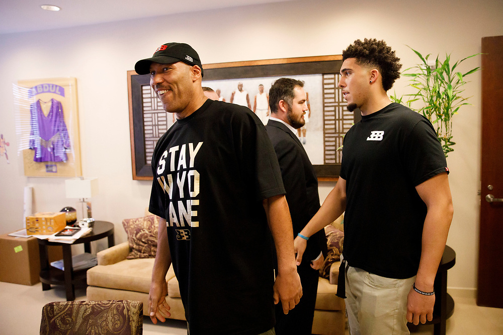 LaVar Ball and son LiAngelo Ball arrive before the introduction of Lonzo Ball at the Lakers' Practice Facility on Friday, June 23, 2017 in El Segundo, California. The Lakers selected Lonzo Ball as the No. 2 overall NBA draft pick. © 2017 Patrick T. Fallon