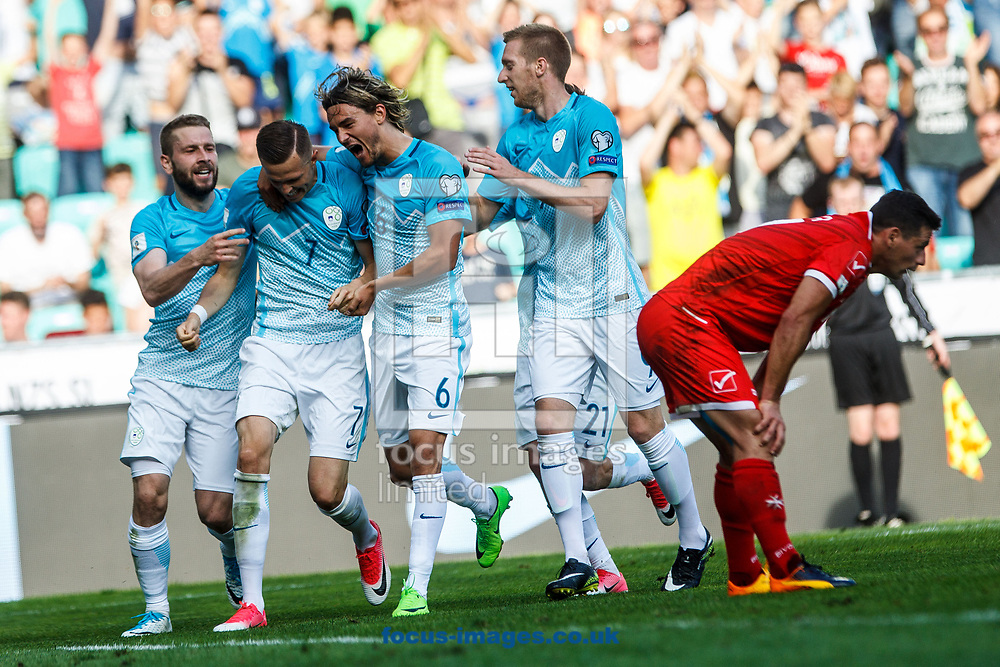 Slovenia celebrates Josip Ilicic's goal during the 2018 FIFA World Cup Qualifying match at SRC Stozice, Ljubljana<br /> Picture by EXPA Pictures/Focus Images Ltd 07814482222<br /> 10/06/2017<br /> *** UK &amp; IRELAND ONLY ***<br /> <br /> EXPA-SLO-170610-0015.jpg