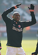Charlton Athletic midfielder Alou Diarra (12) during the warm up before the Sky Bet Championship match between Charlton Athletic and Middlesbrough at The Valley, London, England on 13 March 2016. Photo by Andy Walter.