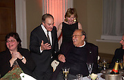 Larry Gagosian, ? Lord Palumbo, Julia Peyton-Jones and Cy Twombly, Cy Twombly: 50 Years of Works on Paper private view at the Serpentine and dinner at Banqueting House. 16 april 2004. ONE TIME USE ONLY - DO NOT ARCHIVE  © Copyright Photograph by Dafydd Jones 66 Stockwell Park Rd. London SW9 0DA Tel 020 7733 0108 www.dafjones.com