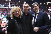 Graziella Bragaglio, Livio Proli e Sandro Santoro, EA7 Emporio Armani Milano vs Germani Basket Brescia LBA serie A 4^ giornata di ritorno stagione 2016/2017 Mediolanum Forum Assago, Milano 12/02/2017