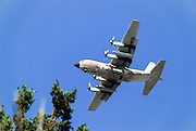 Israeli Air force Hercules C-130 transport plane in flight