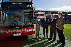Repro Free: 03/03/2014 Pictured at the launch of the new City Sightseeing bus route at Croke Park stadium which now encompasses the Botanic Gardens, Glasnevin Cemetery and Croke Park is Mr David McConn, Chief Executive, Dualway Group, and Mr John Green, Chairman of Glasnevin Trust, Mr Liam O'Neill, President of the GAA and Matthew Jebb, Director, National Botanic Gardens. The new route will be open to the public from March 10th 2014 and extends the existing tour route. This 'true blue' route will take visitors on a journey that gives an insight into the struggles and victories that shaped this country encapsulating social, cultural and sporting history, amazing views and landscapes from three of Dublin's top 10 attractions (Tripadvisor). In this decade of commemorations, these sites are at the forefront in remembering and commemorating great events and people in Irish history. Picture Andres Poveda