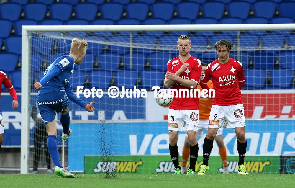 25.4.2016, Sonera Stadion, Helsinki.<br /> Veikkausliiga 2016.<br /> Helsingfors IFK - PS Kemi.<br /> Juho M&auml;kel&auml; &amp; Pekka Sihvola - HIFK