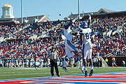 DALLAS, TX - OCTOBER 25:  Phil Mayhue #89 of the Memphis Tigers celebrates with teammates after catching a 54 yard touchdown pass against the SMU Mustangs during the 1st quarter on October 25, 2014 at Gerald J. Ford Stadium in Dallas, Texas.  (Photo by Cooper Neill/Getty Images) *** Local Caption *** Phil Mayhue