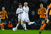 Leeds United defender Gjanni Alioski (10) during the EFL Sky Bet Championship match between Leeds United and Hull City at Elland Road, Leeds, England on 10 December 2019.