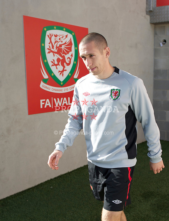 CARDIFF, WALES - Wednesday, October 6, 2010: Wales' Andrew Crofts during a training session at the Cardiff City Stadium ahead of the Euro 2012 qualifying Group G match against Bulgaria. (Pic by David Rawcliffe/Propaganda)