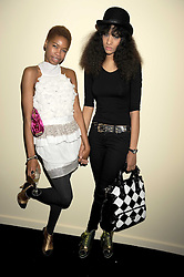 Left to right, TOLULA ADEYEMI and JOY VIELI at the opening of the Atelier Moet pop-up boutique, 70 New Bond Street, London on 3rd December 2008.