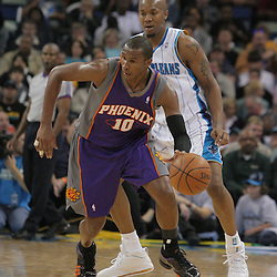 03 December 2008: Phoenix Suns guard Leandro Barbosa (10) dribbles down court during a 104-91 victory by the New Orleans Hornets over the Phoenix Suns at the New Orleans Arena in New Orleans, LA..