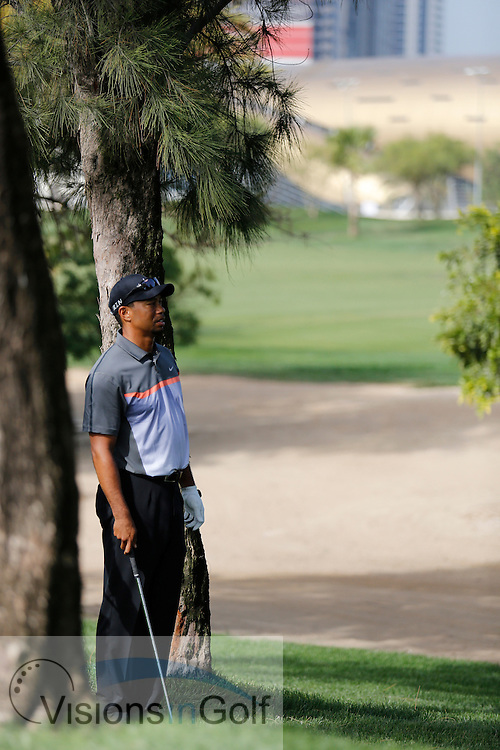 Tiger Woods<br /> Omega Dubai Desert Classic, Emirates GC, UAE, January 2014<br /> Picture Credit:  Mark Newcombe / www.visionsingolf.com