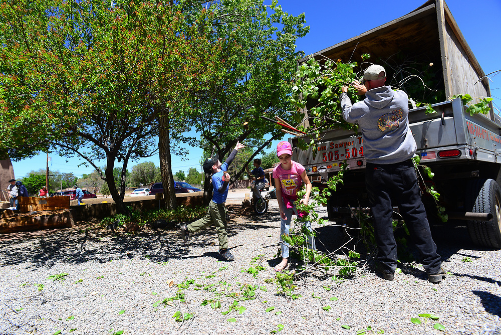apl043017e/ASECTION/pierre-louis/JOURNAL 043017<br /> 5 year-old volunteer  Thomas Nelson,, and his sister 10 year-old Bronte Nelson ,, help their father Tom Nelson remove cut branches from trees  in front of  the Old Church in Corrales .Photographed on Sunday April 30, 2017. .Adolphe Pierre-Louis/JOURNAL