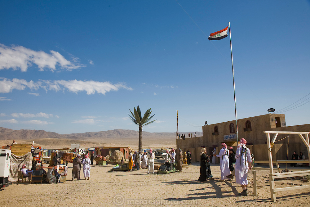 A market inside the fabricated village of Medina Jabal at Fort Irwin, California. The village is used for training soldiers about to deploy to Iraq.