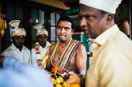 A Hindu priest during a wedding at a small temple, Hapatule, Sri Lanka, Asia