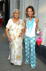 Left to right, the RAJMATA OF JAIPUR and ANNE SUMMERS at a party to launch the Acqualuna jewellery exhibition at Allegra Hicks, 28 Cadogan Place, London on 22nd June 2005.<br />