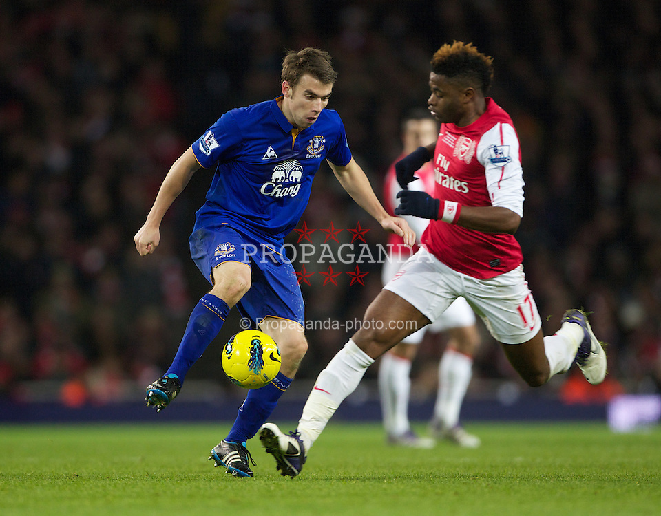 LONDON, ENGLAND - Saturday, December 10, 2011: Everton's Seamus Coleman and Arsenal's Alexandre Dimitri Song Billong during the Premiership match at the Emirates Stadium London. (Pic by Phil Cole/Propaganda)