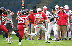 11.07.2011, UPC Arena, Graz, AUT, American Football WM 2011, Group B, Canada (CAN) vs Austria (AUT), im Bild Joel Lipinski (Canada, #25, DB) tries to catch Armando Ponce de Leon (Austria, #15, WR)  // during the American Football World Championship 2011 Group B game, Canada vs Austria, at UPC Arena, Graz, 2011-07-11, EXPA Pictures © 2011, PhotoCredit: EXPA/ T. Haumer