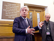 Kinderstransport plaque in Parliament, Westminster, London, Great Britain <br /> 27th January 2017 <br /> <br /> Chief Rabbi and Archbishop of Canterbury to mark Holocaust Memorial Day with Lord Dubs at rededication of Kindertransport plaque in Parliament<br />  <br /> 20 years ago the Committee of the Reunion of the Kindertransport donated a plaque to Parliament commemorating Britain&rsquo;s act of generosity to Jewish children in Nazi-occupied Europe. On Holocaust Memorial Day [27 January 2017], the plaque will be rededicated in the presence of newly arrived child refugees who were reunited with their families from Calais last year by Safe Passage, a project of Citizens UK. <br />  <br /> The ceremony will be particularly poignant as it will be attended by Lord Dubs, himself a Kindertransport survivor, who passed an amendment to the Immigration Act last year, with the Government's support, affording sanctuary in the UK to some of the most vulnerable lone child refugees in Europe.<br />  <br /> Speaker of the House of Commons, John Bercow, <br /> <br /> Archbishop of Canterbury, Justin Welby, <br /> <br /> <br /> Rededication of Kinderstransport plaque in Parliament<br /> <br /> <br /> <br /> <br /> Photograph by Elliott Franks