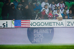 USA flag and Planet Siol.net logo during friendly football match between National teams of USA and Slovenia, on November 15, 2011 in SRC Stozice, Ljubljana, Slovenia.  (Photo By Matic Klansek Velej / Sportida.com)