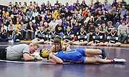 Alburnett's Hunter Washburn (top) tries to pin Wilton's Owen Anderson during the 113-pound bout in the Class 1A Wrestling Regional between Alburnett and Wilton at Alburnett High School in Alburnett on Tuesday, February 5, 2013. Washburn defeated Anderson with a fall. (Stephen Mally/Freelance)