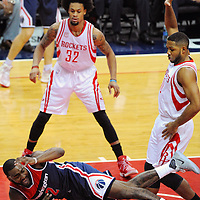 WASHINGTON, DC - NOVEMBER 07: Washington Wizards guard John Wall (2) is fouled making a pass by Houston Rockets guard Eric Gordon (10) on November 7, 2016, at the Verizon Center in Washington, D.C. (Photo by Icon Sportswire)