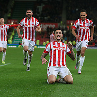 Stoke City's Joselu celebrities scoring the 2nd goal during the Barclays Premier League match between Stoke City and Norwich City played at the Britannia Stadium on January 13th 2016